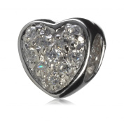 .925 Sterling Silver Crystal Eternal Love Heart Bead Fits Pandora, Biagi, Troll, Chamilla and Many Other European Charm #EC81