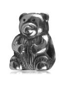 .925 Sterling Silver Cute Teddy Bear Bead Fits Pandora, Biagi, Troll, Chamilla and Many Other European Charm #EC18