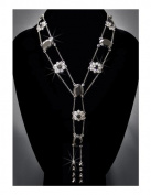 Rhinestone Necklace, Black/Gunmetal NEC-2134A