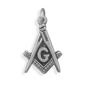 12x23mm Oxidised Masons Symbol Charm - New! .925 Sterling Silver