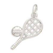 18.5x9mm Polished Tennis Racket/Ball Charm .925 Sterling Silver