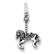 Sterling Silver Antiqued Carousel Horse Pendant. Metal Wt- 2.7g