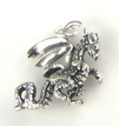 Sterling Silver Dragon Charm with Split Ring - Item #9876