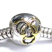 14k gold on 925 Sterling Silver United Friendship LOVE KNOT Bead for Pandora Troll European Charm Bracelets