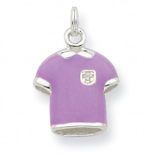 Sterling Silver CZ Purple Enamelled Polished Polo Shirt Charm