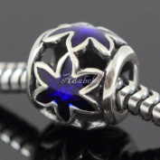 Sapphire Flower Star .925 Sterling Silver charm Fits Pandora, Biagi, Troll, Chamilla and Many Other European Charm #EC 472