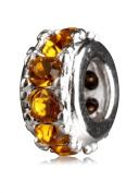 .925 Sterling Silver Oxidised Charm With. Birthstone Crystal November Topaz Fits Pandora, Biagi, Troll, Chamilla and Many Other European Charm #EC284