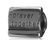 .925 Sterling Silver Forever Together Scroll Bead Fits Pandora, Biagi, Troll, Chamilla and Many Other European Charm