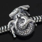 Sacred Zodiac Capricorn .925 Sterling Silver charm Fits Pandora, Biagi, Troll, Chamilla and Many Other European Charm #EC518