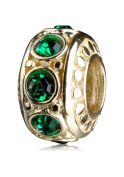 14k Gold Platted.925 Sterling Silver Charm With. Birthstone Crystal May Emerald Fits Pandora, Biagi, Troll, Chamilla and Many Other European Charm #EC278