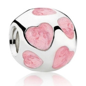 "Authentic Eveserose .925 Sterling Silver ""Pink Hearts"" Charm Bead Compatible with EvesErose Pandora Bracelet"