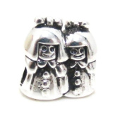 "Authentic Eveserose .925 Sterling Silver ""Two Sisters"" Twins Charm Bead Compatible with EvesErose Pandora Bracelet"