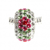Pink and Red Flower Sparkling Crystal Bead 925 Sterling Silver Full Core For European Style Charm Bracelets