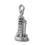 3D Stone Lighthouse Sterling Silver Charm