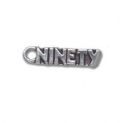 Ninety 90 Number Sterling Silver Charm
