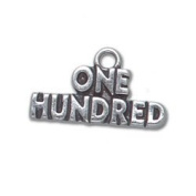 One Hundred Number Sterling Silver Charm