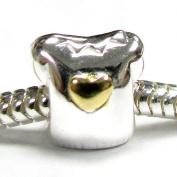 14k Gold Sterling Silver Cute Little Girl T-Shirt Heart Love Bead for Pandora European Charm Bracelets