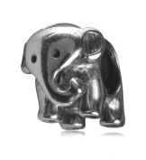 .925 Sterling Silver Charm Adorable Elephant Bead Fits Pandora, Biagi, Troll, Chamilla and Many Other European Charm #EC256