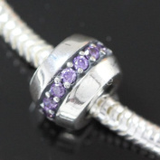 .925 Sterling Silver Sparkling Tanzanite CZ Fits Pandora, Biagi, Troll, Chamilla and Many Other European Charm #EC391