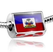 Bead with Hearts Haiti Flag - Charm Fit All European Bracelets , Neonblond