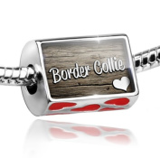 Bead with Hearts Border Collie, Dog Breed Scotland, England, Wales - Charm Fit All European Bracelets , Neonblond