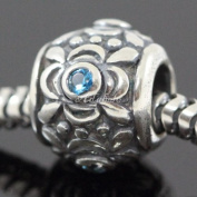 You Pick Flower Design .925 Sterling Silver Birthstone Charm With CZ Fits Pandora, Biagi, Troll, Chamilla and Many Other European Charms