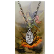 ST Michael Prayer Card Set includes 1.9cm Oval Pewter St Michael Medal, 60cm Nickel Chain & Laminated Holy Card