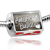 Bead with Hearts American Bulldog, Dog Breed United States - Charm Fit All European Bracelets , Neonblond