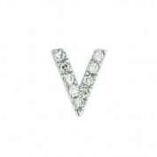 .925 Sterling Silver Initial Letter V Diamond Sense Cubic Zirconia Pave Pendant 41cm Chain