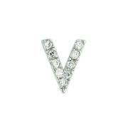.925 Sterling Silver Initial Letter V Diamond Sense Cubic Zirconia Pave Pendant 41cm Chain