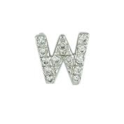 .925 Sterling Silver Initial Letter W Diamond Sense Cubic Zirconia Pave Pendant 41cm Chain