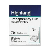 3M Highland 701 Laser Transparency Film,Letter - 22cm x 28cm - 50 / Box - Black, Clear