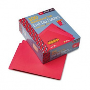 Coloured File Folders, Straight Cut, Reinforced End Tab, Letter, Red, 100/Box