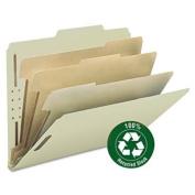 Pressboard Classification Folder, 7.6cm Exp, 6 Dividers, Letter, Grey/Green, 10/BX