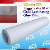 "93Ftx25"" 3Mil Foggy Sain Matt Paper Adhesive Glue Cold Laminating Laminator"