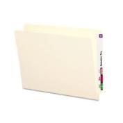 Folders, Straight Cut, Reinforced End Tab, Letter, Manila, 100/Box