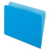 Two-Tone File Folders, Straight Cut, Top Tab, Letter, Blue/Light Blue, 100/Box