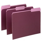 Two-Tone File Folder, 1/3 Cut Top Tab, Letter, Burgundy/Light Burgundy, 100/Box