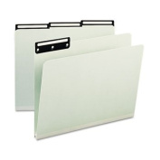 One Inch Expansion Metal Tab Folder, 1/3 Tab, Letter, Grey Green, 25/Box