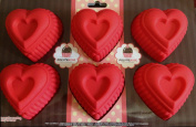 Silicone Ruffled HEARTS mould Pan for Baking, Desserts, or for Crafts - 6 Cavity - By Polymerose T.M.