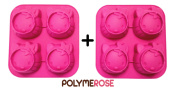 SET OF TWO Silicone HELLO KITTY Pastry or Crafts Moulds Pans - 4 cavity each mould, 8 cavity total- By POLYMEROSE T.M.