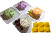 FLOWERS Mould Pan for Soaps, Candles, Crafts and for Pastry - Polymerose TM - 6 Cavity Silicone Mould