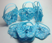 """12 Pcs Blue Polka Dots Footprint Woven Pouches with Pacifier Design """"It's a Boy"""" Baby shower Favour"""