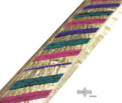 Hand Crafted Trim Indian Sari Border Golden Sewing Ribbon Lace 1 Yard Craft Fabric Home Décor.