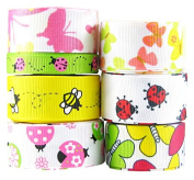 Hip Girl Boutique 55 Yards (11x 5yd) 1cm - 2.2cm Garden Friends Grosgrain Ribbons Collection, Colour May Vary