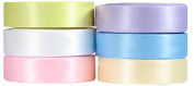 Hip Girl Boutique 30yd (6x 5yd) 1cm Satin Ribbon-Double Face--Combo--Pastel