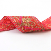 Neotrims Indian Style Embroidery Trimmings Ribbon by the Yard, Stylised Lotus Floral Pattern; Metallic Threads,Sequins and Bright Contrasts. Trimming used for Salwar Kameez & Sari Border for Suits and Dressmaking. Four Gorgeous colour Combos; Red, Blac ..