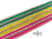 Decorative Indian Sari Border Craft Lace Yellow Fabric Trim Thread Work Recycled Fabric Home Decor Ribbon 1 Yard.