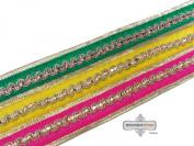 Decorative Indian Sari Border Craft Lace Yellow Fabric Trim Thread Work Recycled Fabric Home Decor Ribbon 1 Yard.
