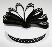 1.6cm Black Grosgrain Ribbon with White Polka Dots - 25 Yards